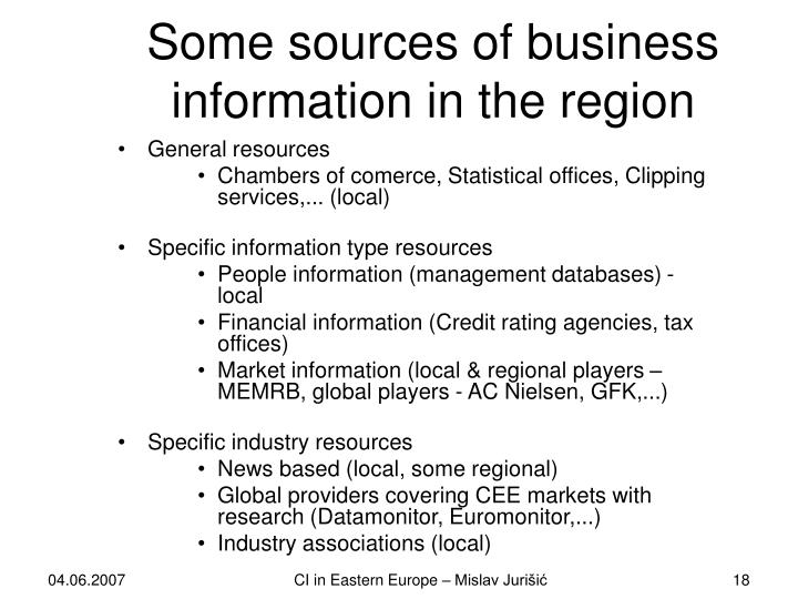 Some sources of business information in the region