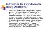 examination for distinctiveness merely descriptive