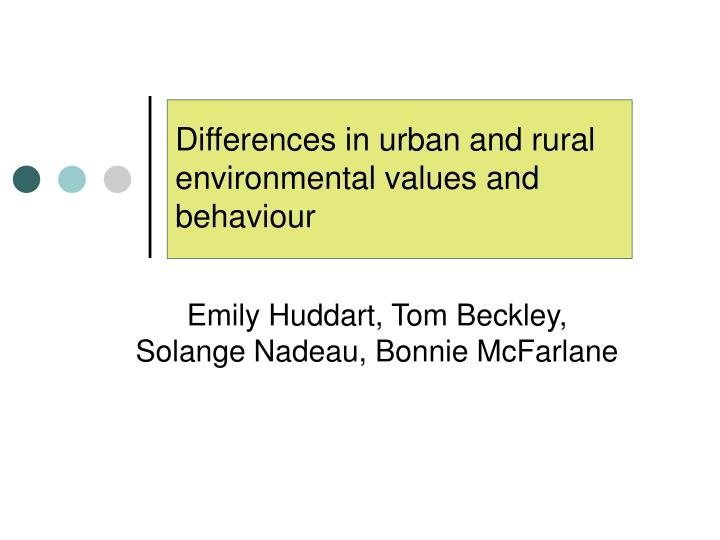 differences in urban and rural environmental values and behaviour n.