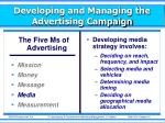 developing and managing the advertising campaign3