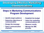developing effective marketing communications