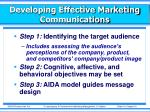 developing effective marketing communications1