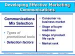 developing effective marketing communications10