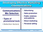 developing effective marketing communications9