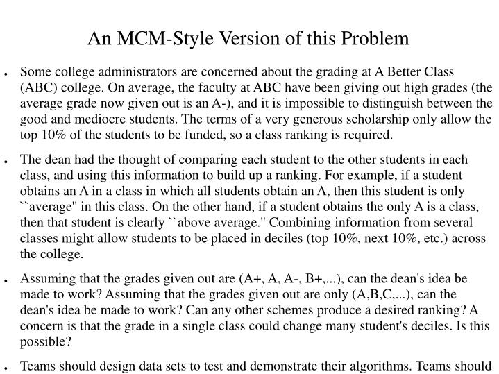 An MCM-Style Version of this Problem