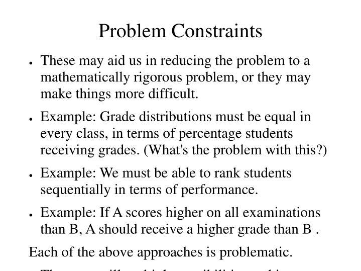 Problem Constraints