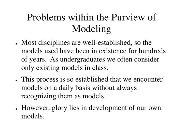 Problems within the Purview of Modeling