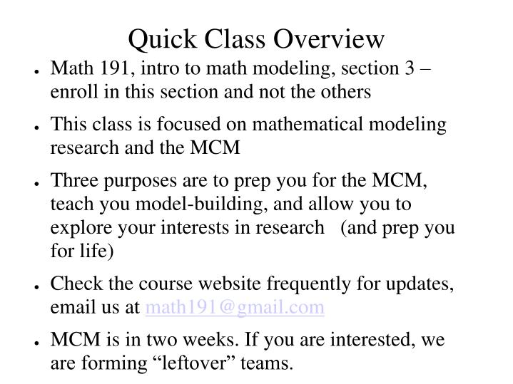 Quick Class Overview