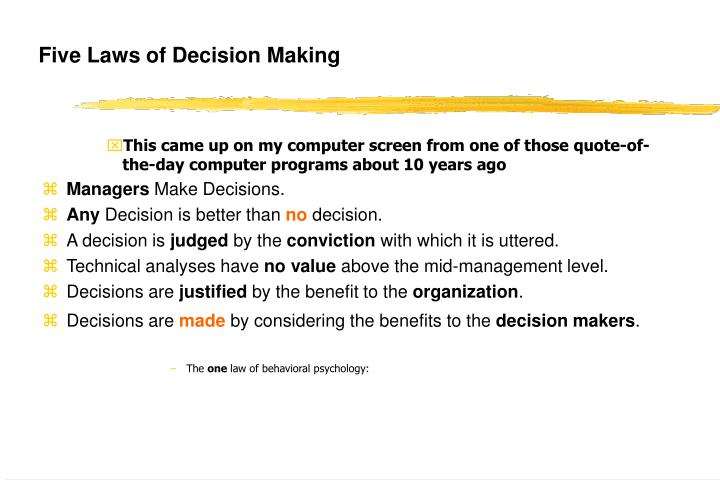 Five Laws of Decision Making