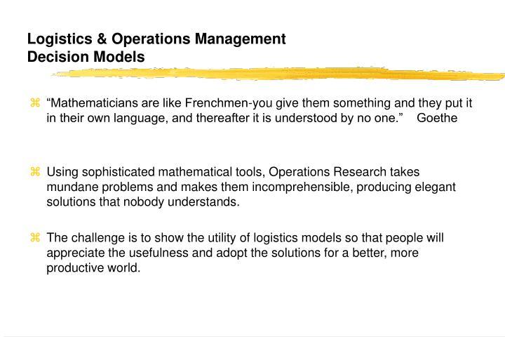Logistics & Operations Management