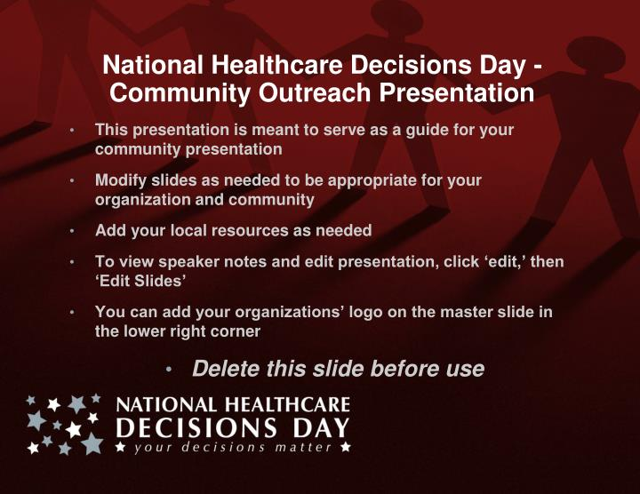 national healthcare decisions day community outreach presentation