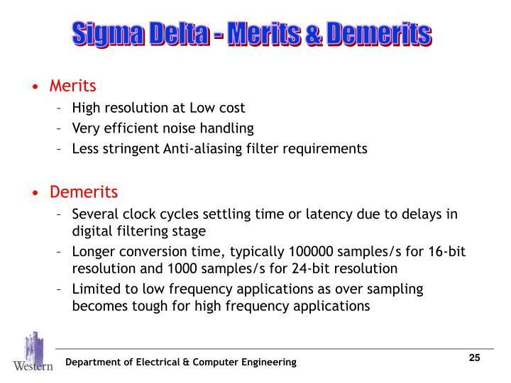 Sigma Delta - Merits & Demerits