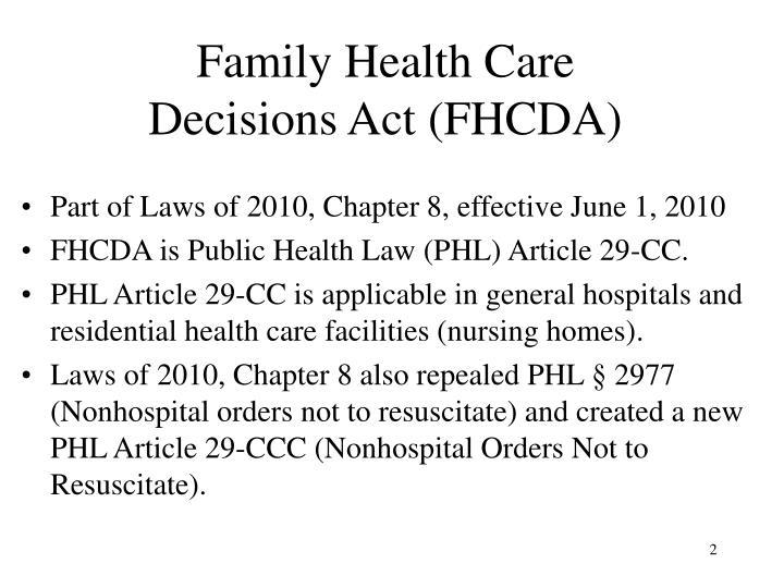 Family health care decisions act fhcda