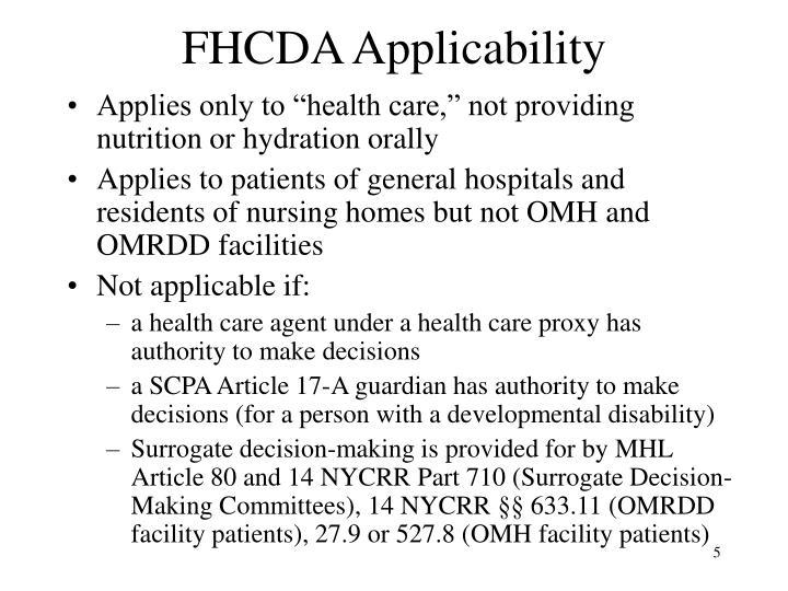 FHCDA Applicability