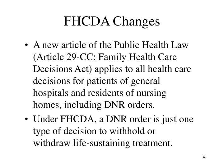 FHCDA Changes