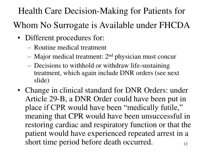 Health Care Decision-Making for Patients for Whom No Surrogate is Available under FHCDA