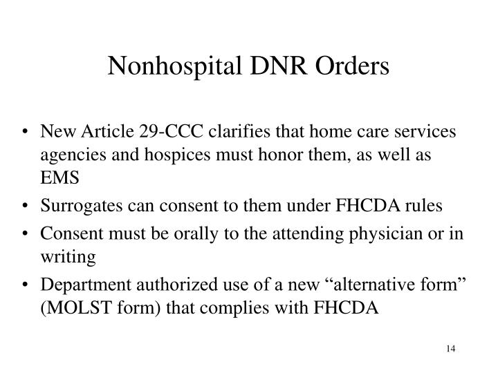 Nonhospital DNR Orders