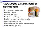 how cultures are embedded in organizations