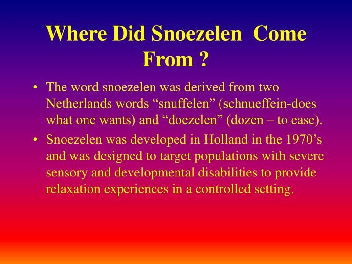 Where Did Snoezelen  Come From ?