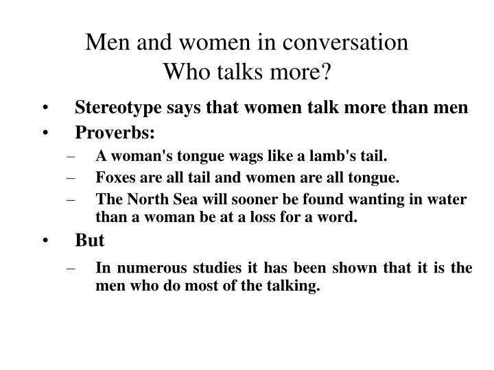 Men and women in conversation