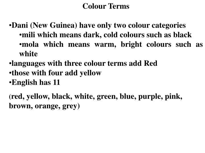 Colour Terms