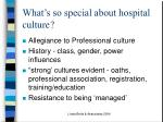 what s so special about hospital culture