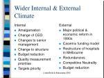 wider internal external climate