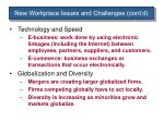 new workplace issues and challenges cont d