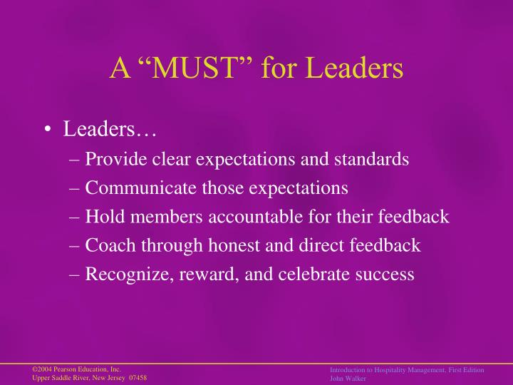 "A ""MUST"" for Leaders"