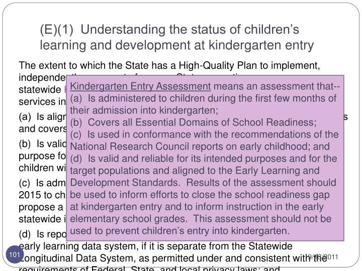 (E)(1)  Understanding the status of children's learning and development at kindergarten entry