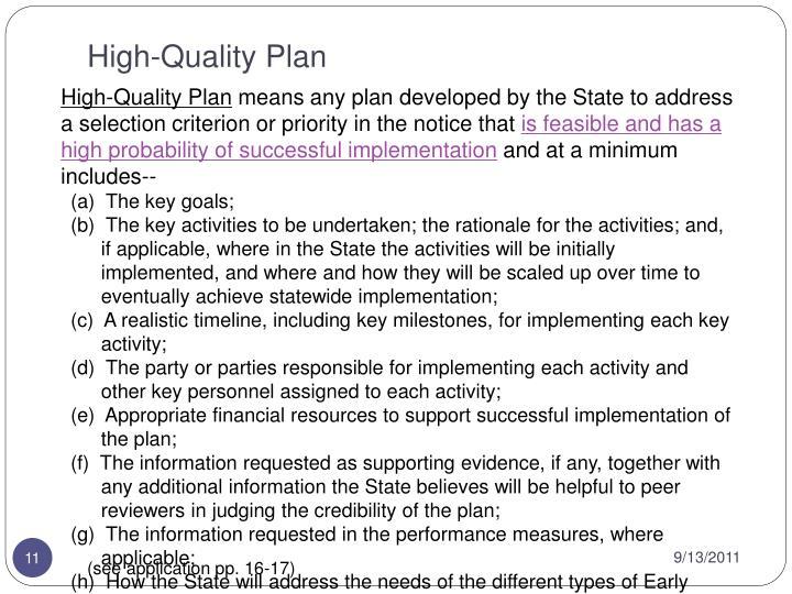 High-Quality Plan