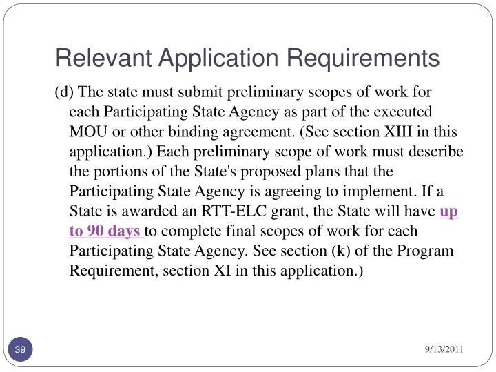 Relevant Application Requirements