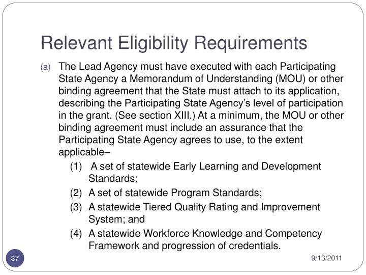 Relevant Eligibility Requirements
