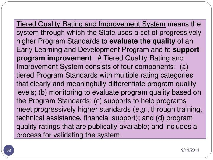 Tiered Quality Rating and Improvement System