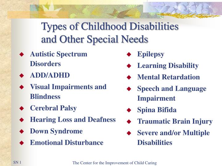 types of childhood disabilities and other special needs n.