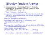 birthday problem answer