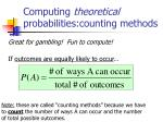computing theoretical probabilities counting methods