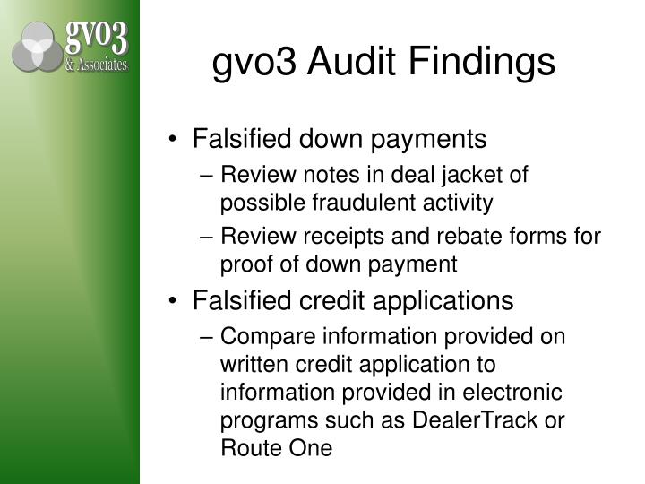 gvo3 Audit Findings