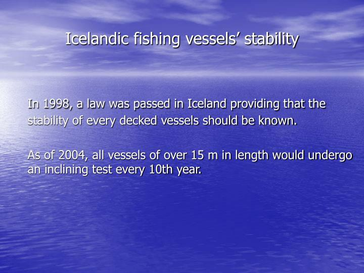 Icelandic fishing vessels' stability