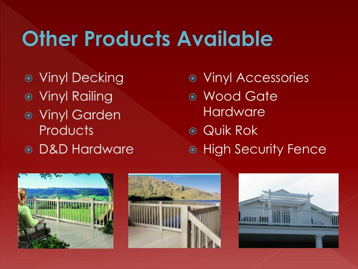 Other Products Available