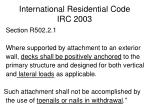 international residential code irc 20031