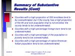summary of substantive results cont