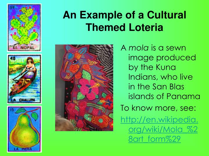 An Example of a Cultural Themed Loteria