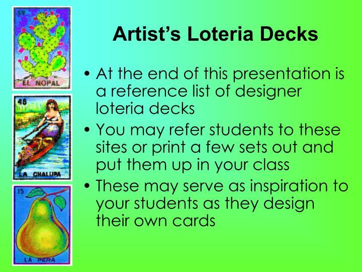 Artist's Loteria Decks