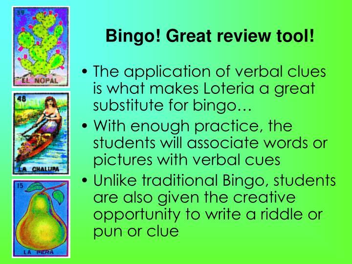 Bingo! Great review tool!