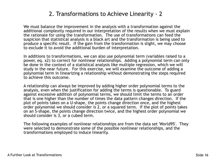 2. Transformations to Achieve Linearity - 2