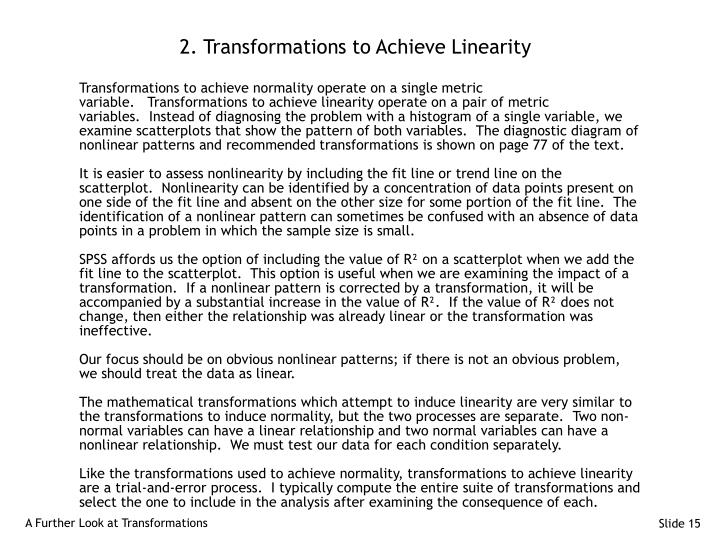 2. Transformations to Achieve Linearity