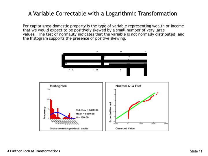 A Variable Correctable with a Logarithmic Transformation
