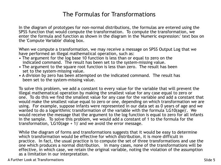 The Formulas for Transformations
