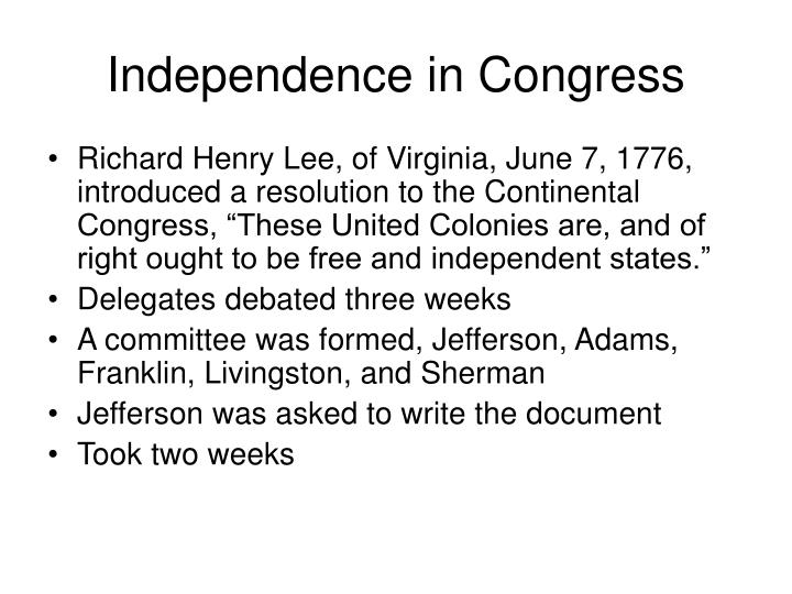 Independence in Congress